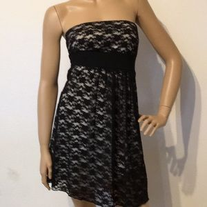 Black Lace Strapless Dress S M